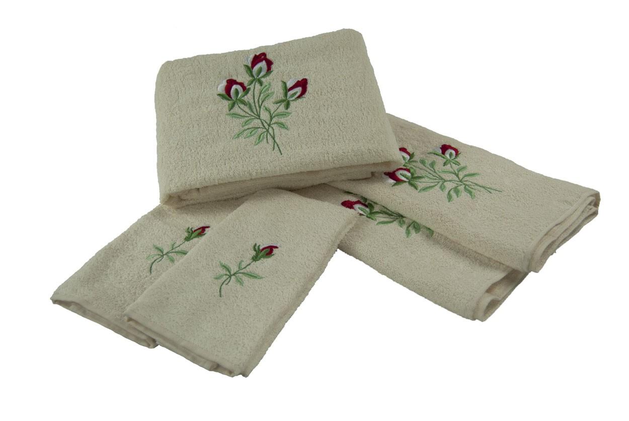 Set Asciugamani Completo 5 Pz. Rose Panna Pezzoli