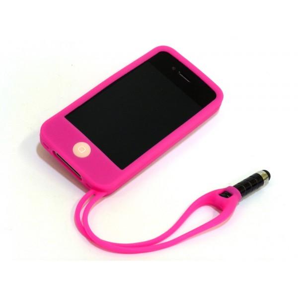 Custodia per iphone 4 e 4s con pennino - Fucsia