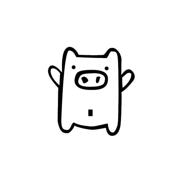 Maialino - Adesivo Prespaziato - Colore Nero - 10cm