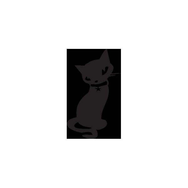 Gatto con collare - Adesivo Prespaziato - Colore Nero - 10cm