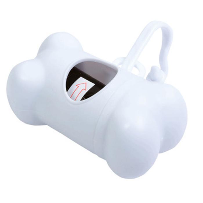 Porta Sacchetti Cane Osso - Portatile con sacchetti inclusi - Bianco