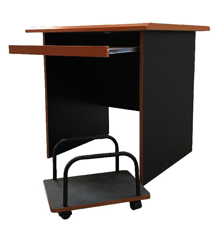 Scrivania porta computer PC in MDF - Color ciliegio e nero