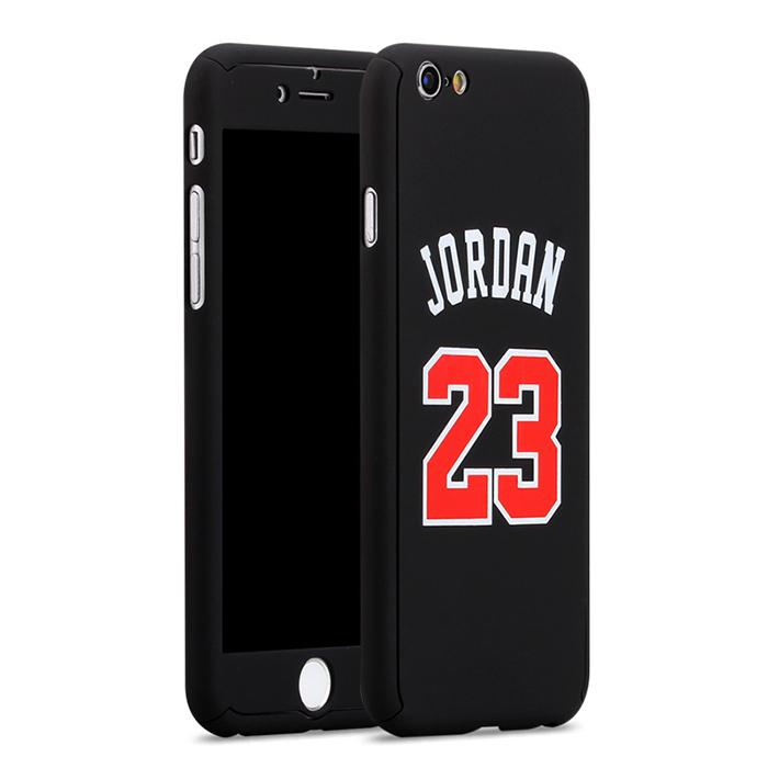 Custodia total protection iPhone 6/6s Plus-Michael Jordan+Pellicola Vetro-Nero