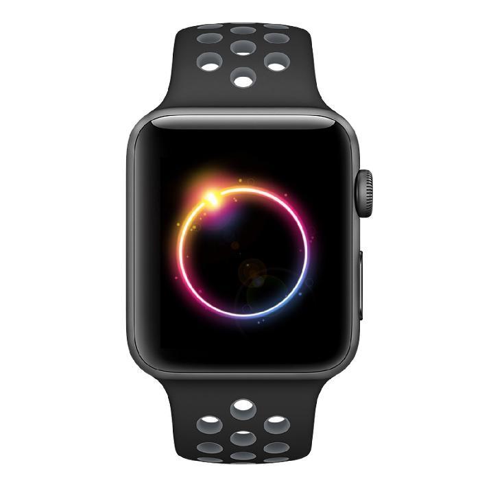 Cinturino Sport in Silicone per Apple Watch Nike+ - Nero/Grigio -42 mm