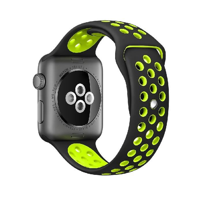 Cinturino Sport in Silicone per Apple Watch Nike+ - Nero/Verde -42 mm