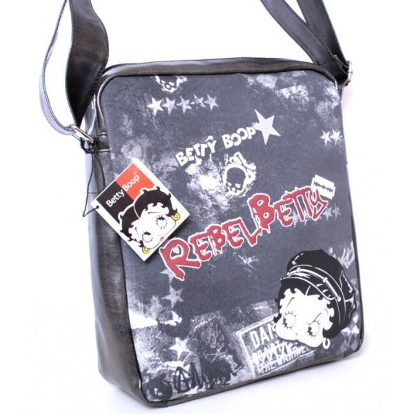 Borsa donna/ragazza Rebel Betty Boop - Colore Grigio/Nero - 6653