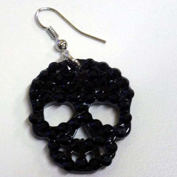 Coppia orecchini teschio con strass - Colore Nero - Plastica
