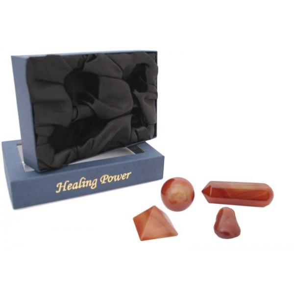 Kit per Cristalloterapia con pietra semipreziosa naturale Corniola
