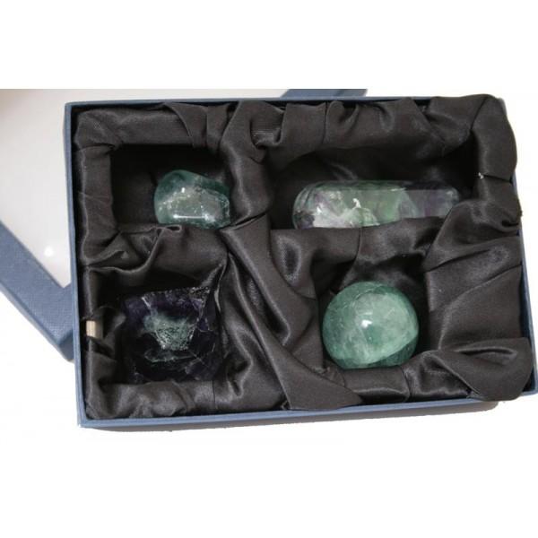 Kit per Cristalloterapia con pietra semipreziosa naturale Fluorite