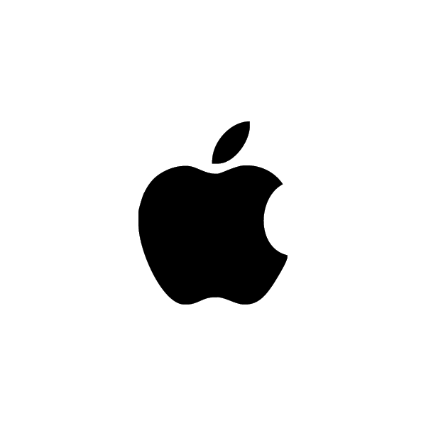 Apple - Adesivo Prespaziato - Colore Nero - 10cm