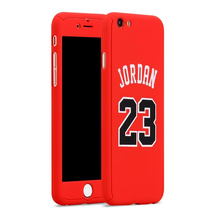Custodia total protection iPhone 6/6s-Michael Jordan+Pellicola Vetro-Rosso