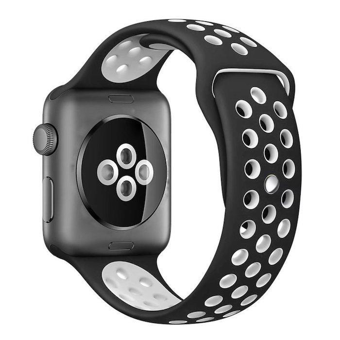 Cinturino Sport in Silicone per Apple Watch Nike+ - Nero/Bianco -42 mm