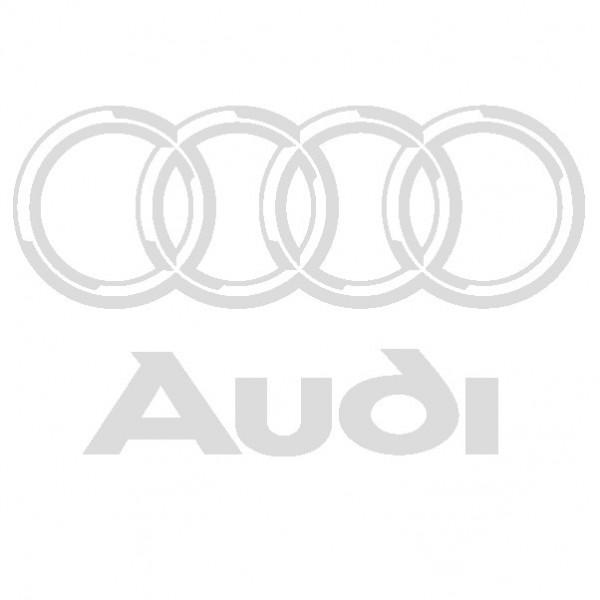 Audi - Adesivo Prespaziato - Colore Argento - 15cm